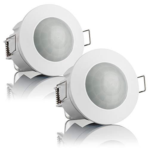 SEBSON® 2X Detector de Movimiento Empotrable, Interior, Montaje en Techo, programable, Sensor de Infrarrojos, Alcance 6m…