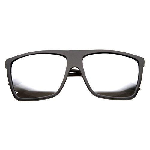 KUSH - Flash Mirror Flat Top Sports Plastic Wire Frame Sunglasses (Black - Sunglasses Wireframe