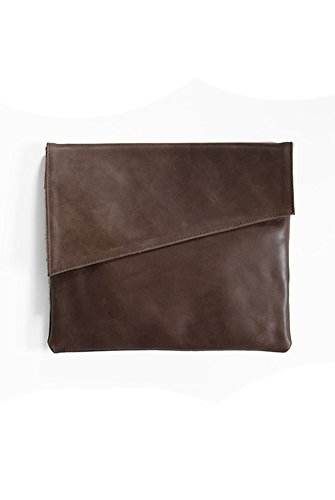 Women's Large Leather Asymmetric Clutch from Purse & Clutch, Handmade in Ethiopia, Dark Brown by Purse & Clutch
