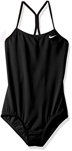 Nike Swim Big Girls' Racerback One Piece Swimsuit, Black, Small
