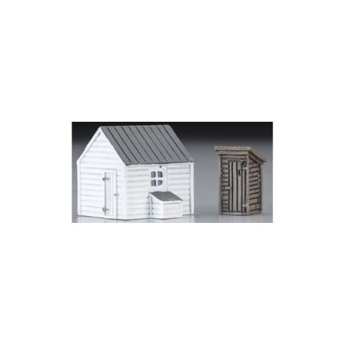 Perma-Scene Outhouse and Garage N Scale Train Building