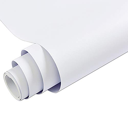 Matt White Vinyl Contact Paper Decorative Self Adhesive Shelf Liner Waterproof Removable Peel and Stick Wallpaper for Bedroom Living Room Wall Decor 24 x 196 inch