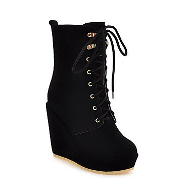 Boots Casual Beige Booties Women'S Wedge Boots Winter CN36 Fleece Brown RTRY Heel Black UK4 Shoes For Boots Fashion EU36 Fall Ankle US6 xYanqfWv