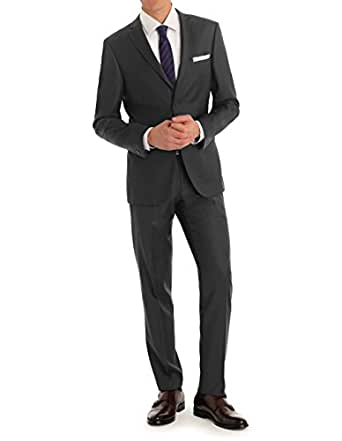 MDRN Uomo Men's Slim Fit 2 Piece Suit, Charcoal, 42S/36W