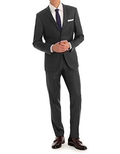 MDRN Uomo Men's Slim Fit 2 Piece Suit, Charcoal, 44L/38W by MDRN Uomo
