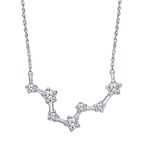 Triss Jewelry 1/5 Cttw Diamond Pisces Zodiac Sign Pendant Necklace For Women in Sterling Silver