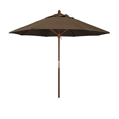 California Umbrella 9' Rd. Wooden Market Umbrella, Push Open Pin Stop , Sunbrella Cocoa