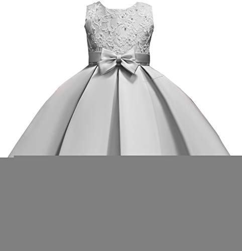 Shiny Toddler Little Girls Pleated Beaded High-Low Applique Embroidered Flower Girl Pageant Dance Party Dress,Grey,4-5