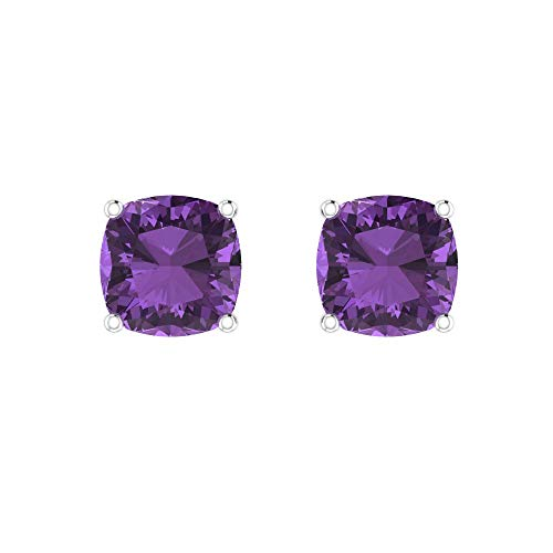 Belinda Jewelz Womens 14k White Gold 7 mm Cushion Dainty Sparkling Birthstone Prong Gems Gemstone Elegant Classic Timeless Accessories Jewelry Fine Stud Earrings, 2.4 Carat Amethyst Purple