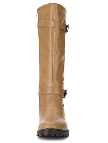 Allegra K Women's Buckle Straps Riding Boots Light Brown yJcMT2HXSm