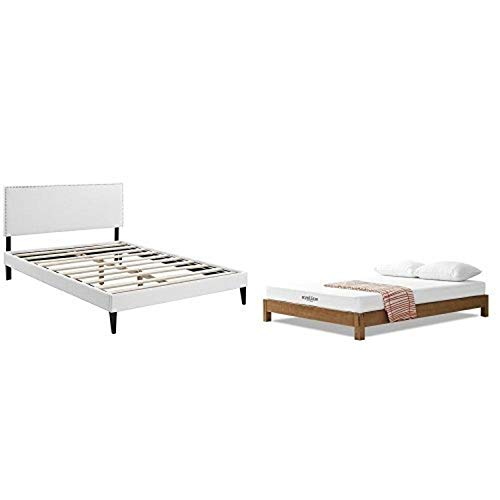 "Modway Phoebe King Vinyl Platform Bed with Squared Tapered Legs in White with Modway Aveline 6"" Gel Infused Memory Foam King Mattress With CertiPUR-US Certified Foam"
