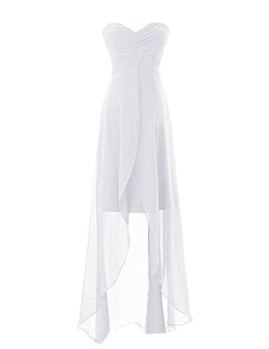 Ma Chérie En Mousseline De Soie Sans Bretelles De Femmes Asbridal Plissé Haut Bas Robe De Bal Blanc Partie