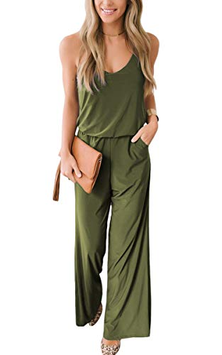 (ECOWISH Women's Summer Casual V Neck Short Sleeve Long Pants Jumpsuit Rompers with Pockets 144 Army Green Small)