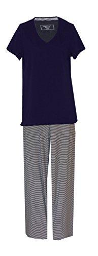 Nautica Maritime Anchors Nautical Theme Plus Size Pajamas Set (Plus Size 2X, Solid Navy Top Navy White Striped Bottoms)