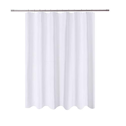 N&Y HOME Long Fabric Shower Curtain Liner 72 x 78 inches Longer Length, Hotel Quality, Washable, Water Repellent, White Spa Bathroom Curtains with Grommets, 72x78