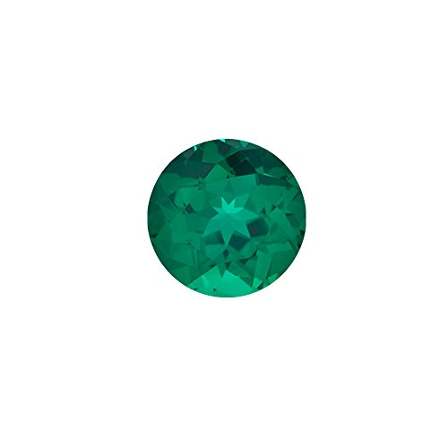 0.42-0.59 Cts of 5x5 mm AAA Round Russian Lab Created Emerald ( 1 pc ) Loose Gemstone