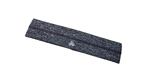 RAVEbandz Fashion Headbands (HEATHER BLACK GREY) - Non-Slip Silicone Lined Sports & Fitness Hair Bands for Women and Girls