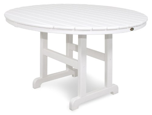 Trex Outdoor Furniture TXRT248CW Monterey Bay Round Dining Table, 48-Inch, Classic White (48 Table Resin Patio Round)