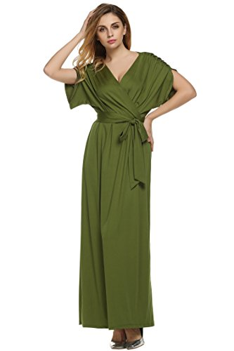 ANGVNS Women's Elegant Batwing Dolman Sleeve Classy Maxi Evening Dress, Size X-Large, Green