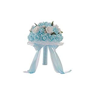 meet-you 6 Colors Bouquet Artificial Foam Flowers Foam Roses for Women Wedding Arrangement Bridal Bouquet Wedding Bouquets,Blue 7