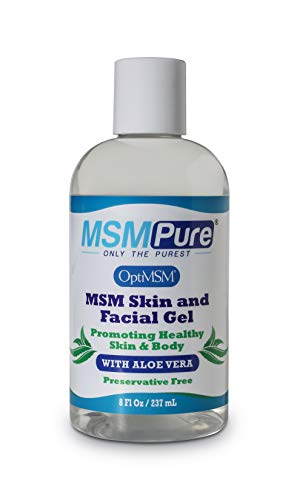 Kala Health MSMPure Max Strength Skin and Facial Gel with Aloe, 8oz, New & Improved Preservative Free Formula (03/2019), for Soft, Smooth Healthy Glowing Skin, Softer Hair & Acne Treatment (Best Msm Cream For Acne Scars)