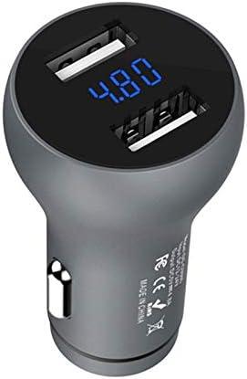 Iycorish 車の充電器5V 4.8A LEDディスプレイ ユニバーサルデュアルUSB電話アルミ車の充電器 x iaomi S8 x 8 Plusタブレット用