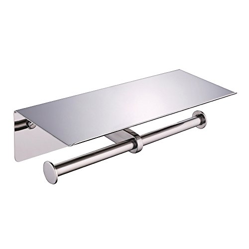 Double Roll Toilet Paper Holder with Phone Shelf, Suyar SUS304 Stainless Steel Extra Bathroom Toilet Paper Tissue Roll Holder Dispenser with Phone Wet Wipe Shelf Wall Mount, Polished Chrome by Suyar
