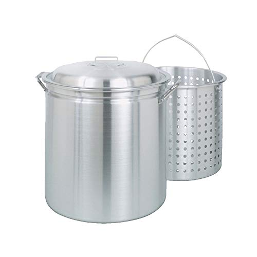 Bayou Classic Large 42 Quart Aluminum Stockpot Soup Pot with Lid and Basket (2 Pack) ()