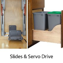 Kit Rev Drive - Rev-a-Shelf, Bottom Mount Trash Pull-Outs with Blum Soft-Close & Servo Drive, 35 Qt. Double Bin W/Blum Tandem/Servo-Drive, 15