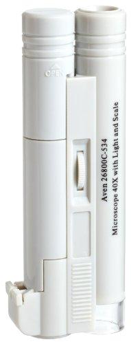 Aven 26800C-534 Pocket Microscope Illuminated, 40x Magnification, 4mm Lens Diameter