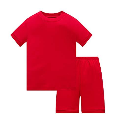 Huata Girls Boys Pajamas Sleepwears 2 Piece 100% Cotton (Red, 8)]()