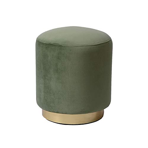 Dutch Homes Velvet Ottoman Pouf/Indoor (161618) (LWH) Inch Round (Mango Wood Structure and Iron Gold Platting) (Light Green) (Pouf Velvet Ottoman)