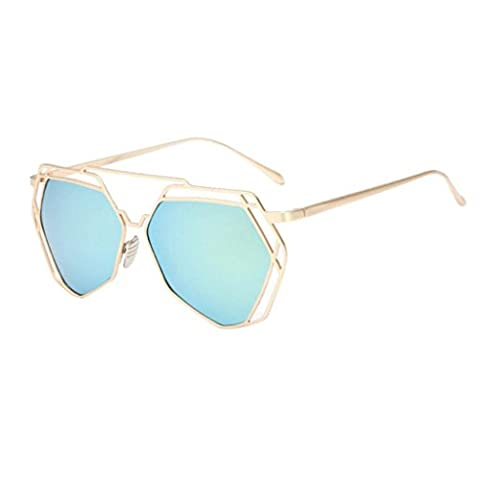 DEESEE(TM) Twin-Beams Geometry Design Women Metal Frame Mirror Sunglasses Cat Eye Glasses (Gold, (Green And Gold Baseball Necklace)