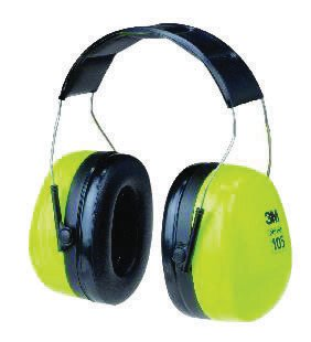 Earmuffs Hi Viz (3M Peltor Optime 105 Hi-Viz Green And Black ABS Over-The-Head Hearing Conservation Earmuffs With Liquid/Foam Earmuff Cushions)