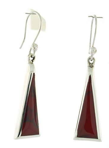 (Sterling Silver With Inlay Reconstituted Stone Dangling Long Triangle Earrings, Deep Red)