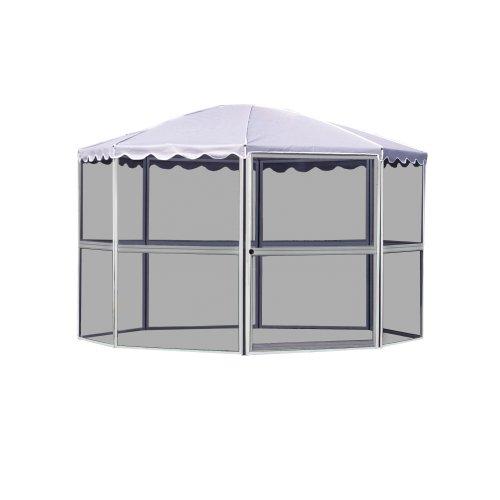 Casita 8-Panel Round Screenhouse 83222, White with Gray Roof