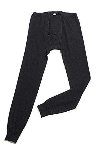 Hocosa of Switzerland Men's Long-Underwear Pants, Organic Wool-Silk, Black, size L