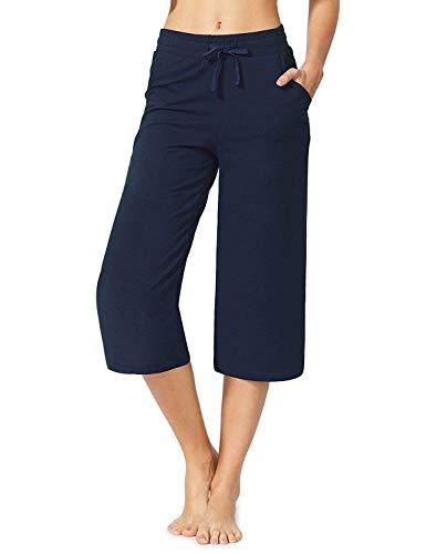MYIFU Women's Active Yoga Lounge Capri Pants (Dark Blue, XL) ()