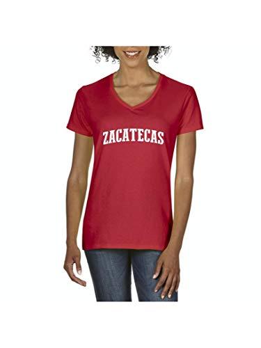 Zacatecas State Flag La Quemada Mexico Traveler`s Gift Women's V-Neck T-Shirt Tee (SR) -