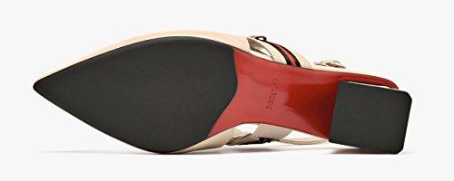Heeled Shoes Pointed Women Sandals Block Leather Slingback Honeystore Heels Black Toe SzIxwRwHq