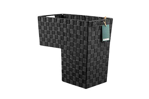 HomeModele Step Basket Stair Storage Basket Organizer with Handles Nylon-Woven (Dark Grey) (Basket Wicker Stair Grey)