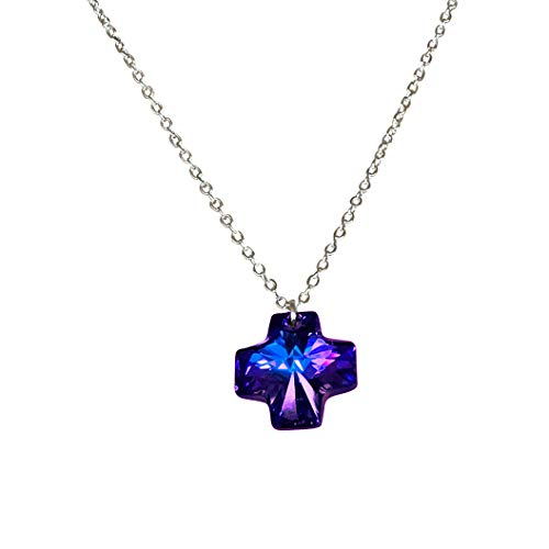 (DragonWeave Deep Blue Swarovski Crystal Reversible Cross Charm Pendant on Silver Chain Necklace)