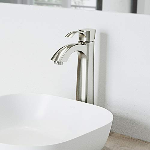 VIGO VG03023BN Otis Single Handle Brushed Nickel Bathroom Faucet, Plated Seven Layer Brass Bathroom Lavatory Vessel Faucet for Vessel Sink