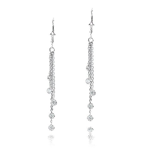 14k White Gold Chandelier Earrings with Round Cubic ZIrconia Stations ()