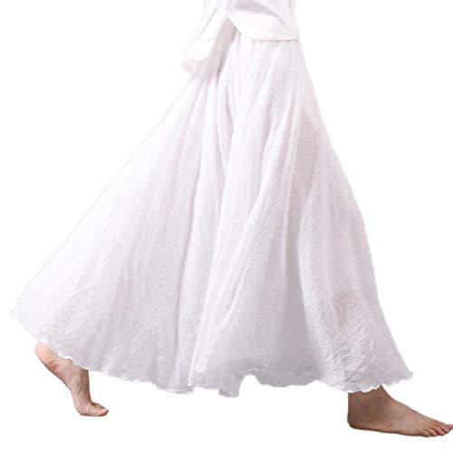 Sprint-Love Women Linen Cotton Long Skirts Elastic Waist Pleated Maxi Skirts Beach Skirts Faldas Saia,White,M ()