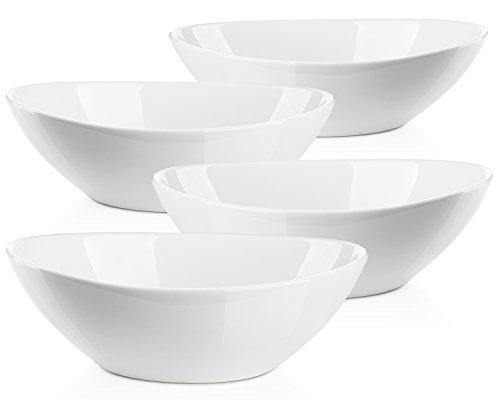 Lifver 1.1-quart/36-oz Porcelain Serving Bowls for Salad/Side dishes/Soup/Dessert, Set of 4, White