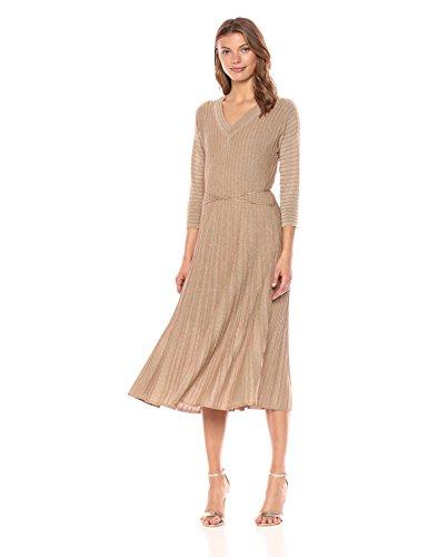 NIC+ZOE Women's Sleeved Shimmer Pleats Dress, Metallic/Gold, -