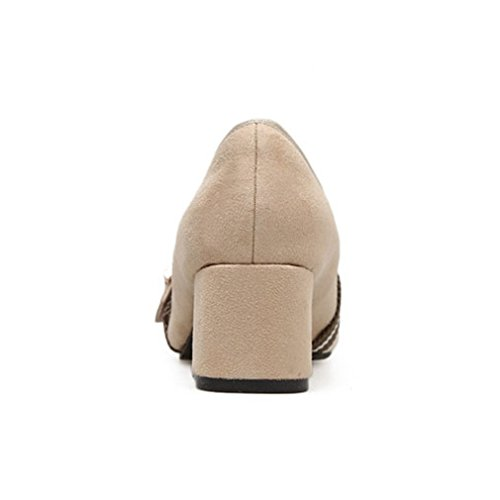 GIY Womens Retro Pointed Toe Loafers Pumps Suede Classic Slip-On Buckle Block Heel Dress Loafer Shoes Beige 312THC9g