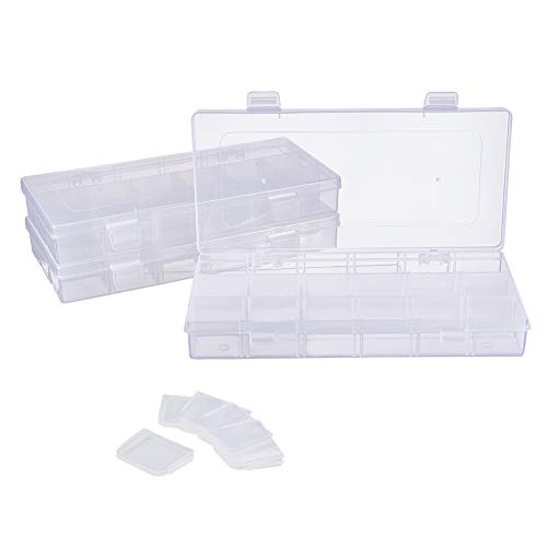 PandaHall Elite 6 Pack 18 Grids Jewelry Dividers Box Organizer Adjustable Clear Plastic Bead Case Storage Container for Beads, Jewelry, Nail Art, 23x11.5x3.2cm, Compartment: 3.5x3.5cm ()