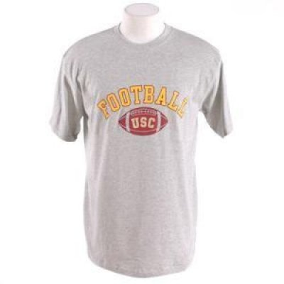 Usc Trojans Football T-shirt - Football Arched - By Champion - Oxford Heather - Unisex - L